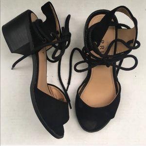 Black Sandal Lace Up Block Heel Esprit NWOT